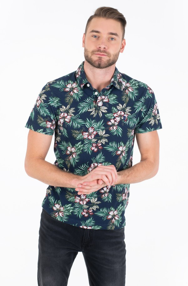 ALLOVER FLOWER PRINT POLO-hover