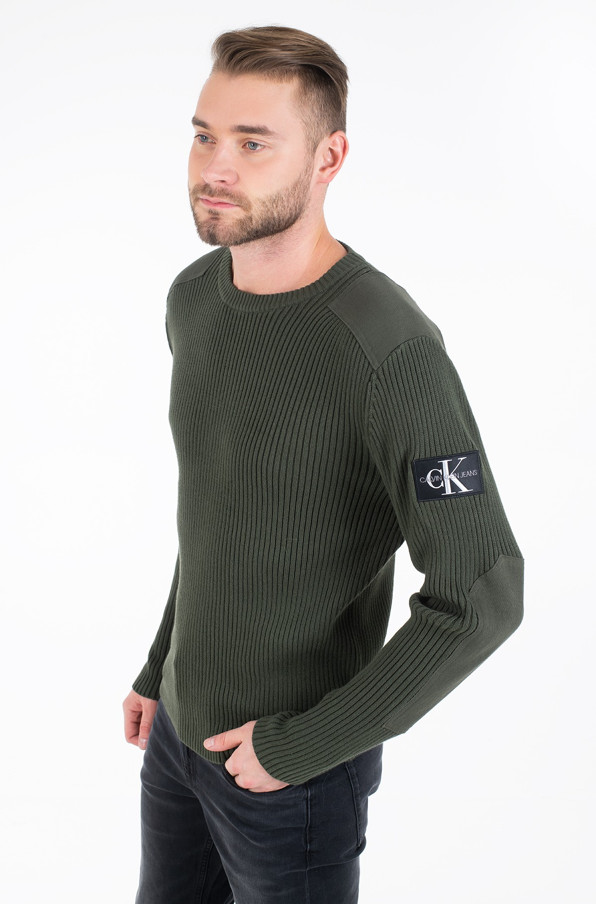 Adījums MONOGRAM SLEEVE BADGE CN SWEATER-full-1