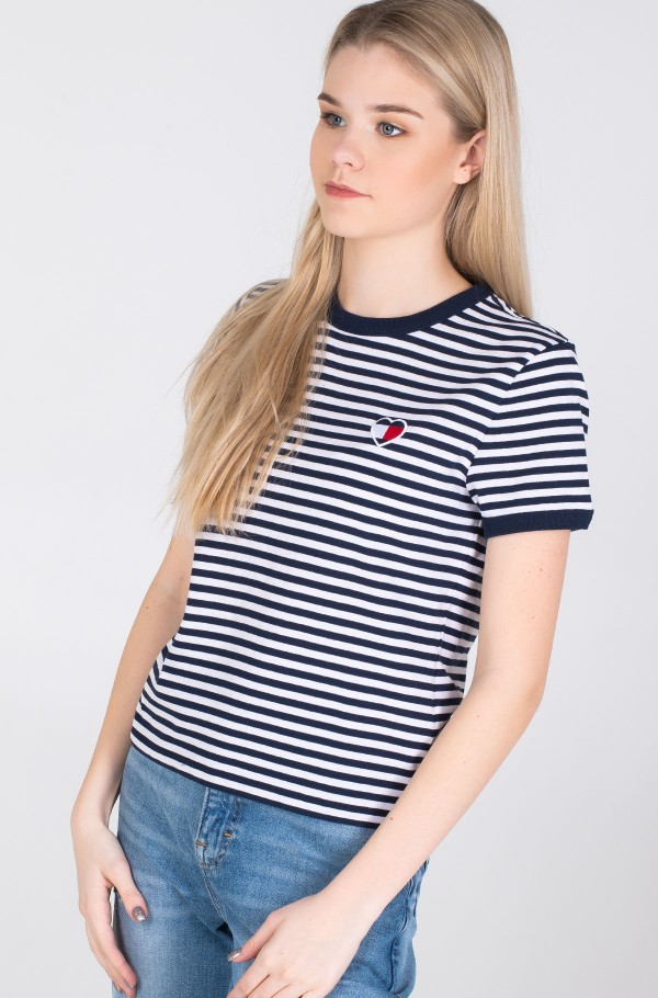 TJW STRIPE HEART TEE