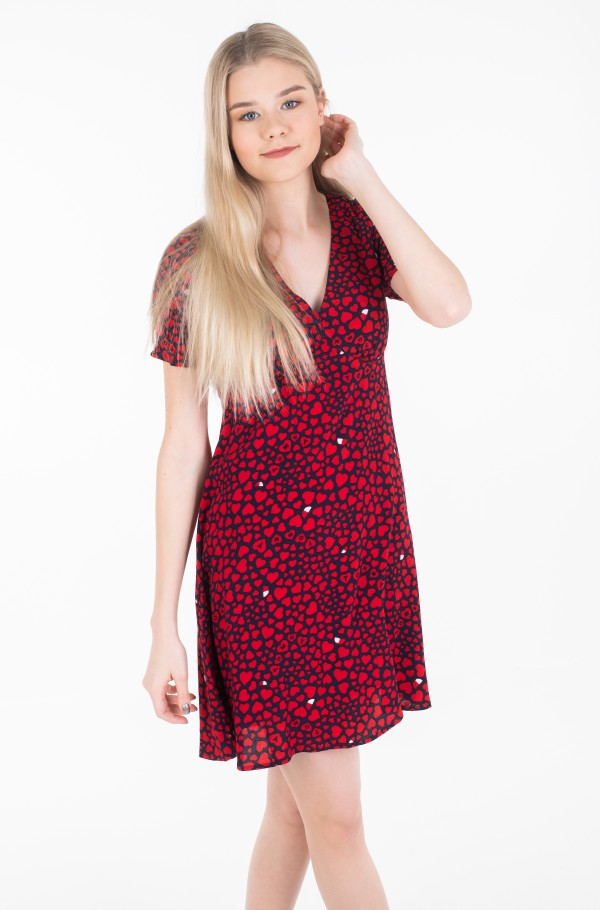 TJW HEART PRINT V-NECK DRESS
