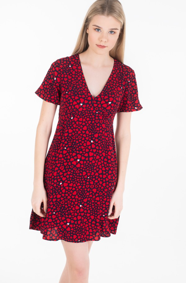 TJW HEART PRINT V-NECK DRESS-hover