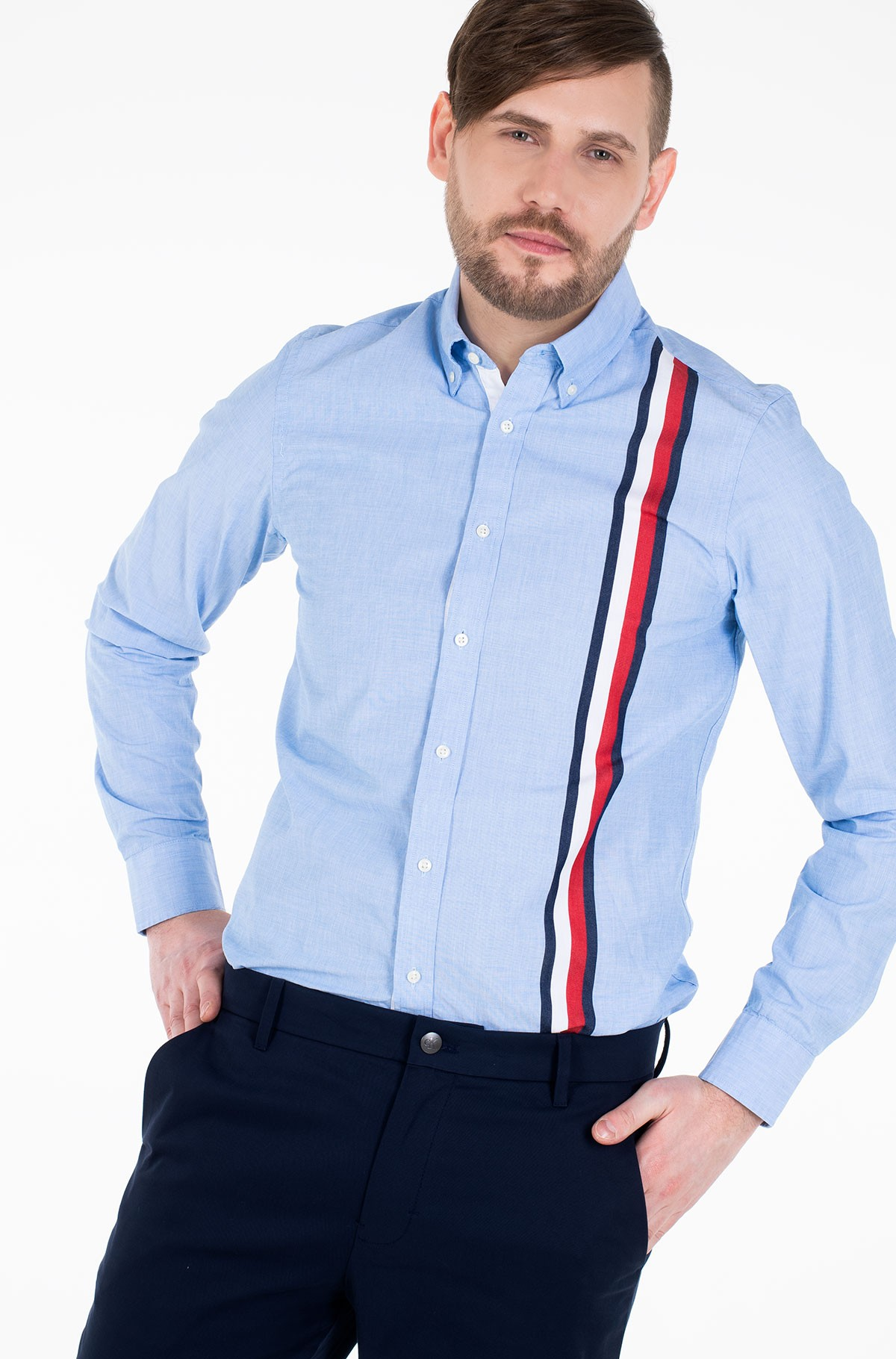 Marškiniai SLIM GLOBAL STRIPE SHIRT	-full-1
