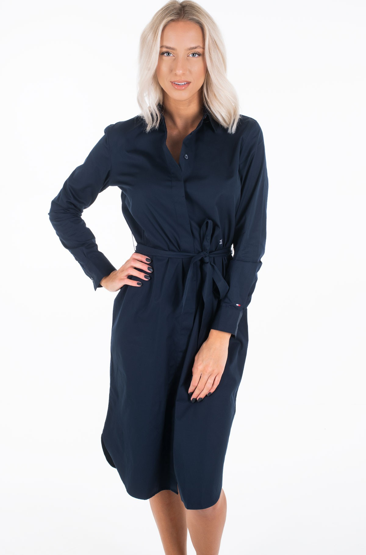 Kleit TH ESSENTIAL MIDI SHIRT DRESS LS	-full-1