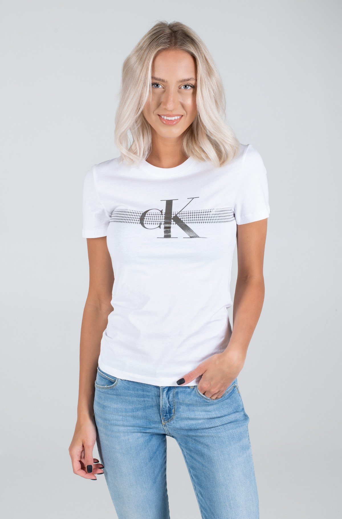 Marškinėliai METALLIC MESH CK SLIM TEE-full-1