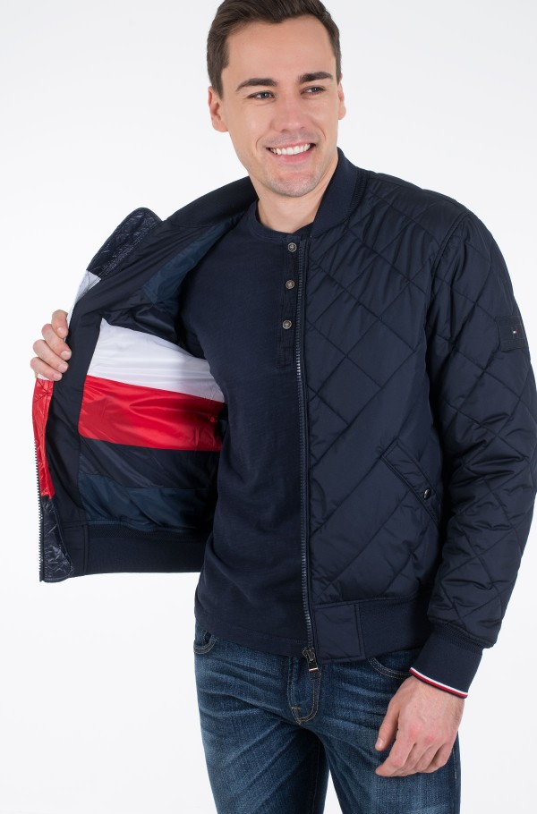 CHEVRON QUILTED BOMBER-hover