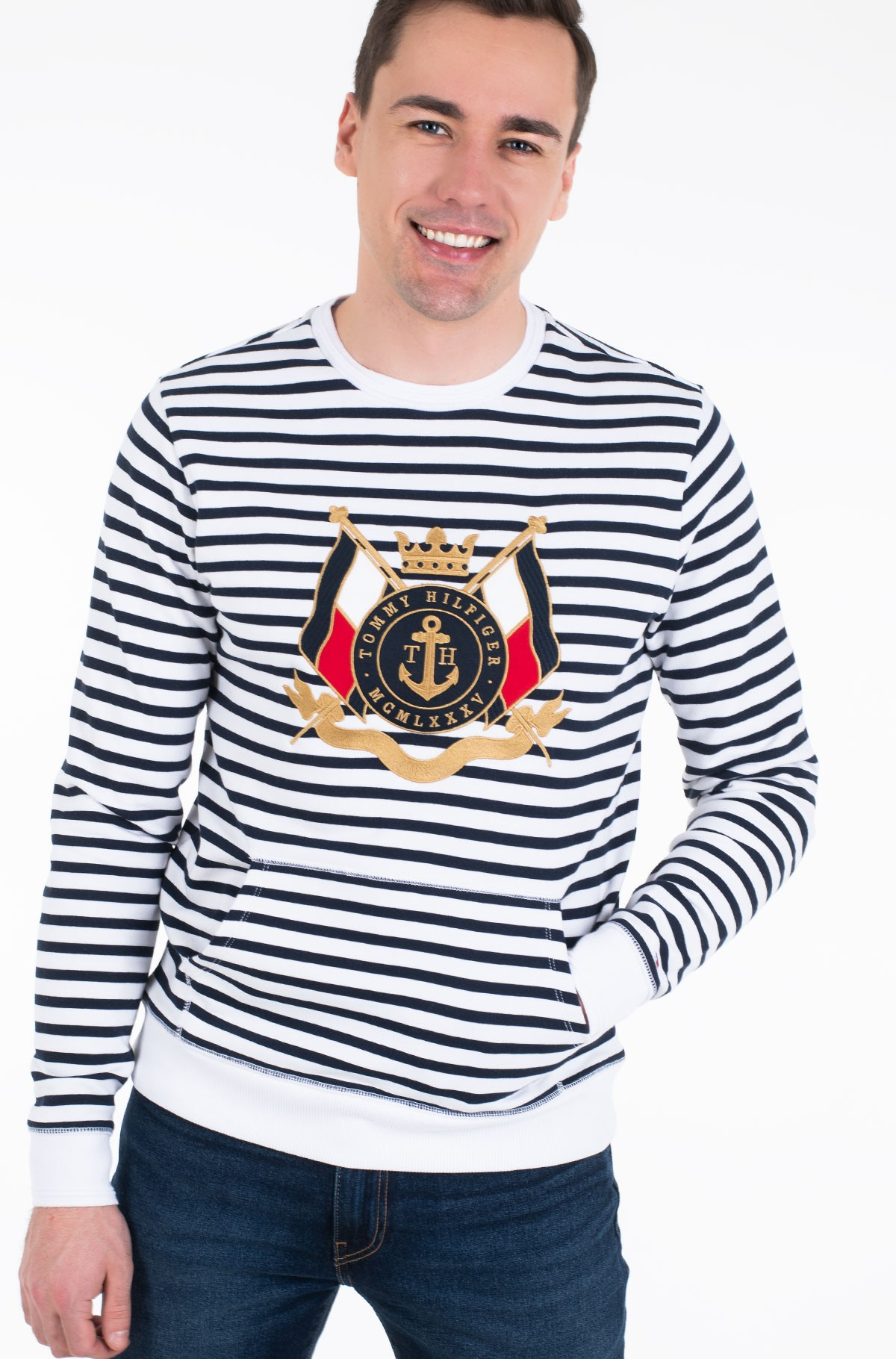 Džemperis NAVAL STRIPED SWEATSHIRT	-full-1