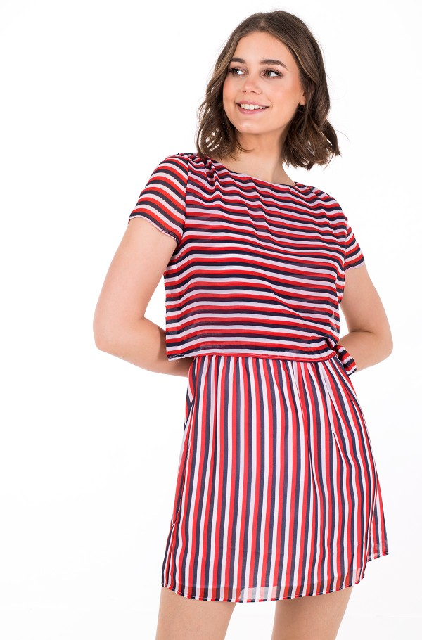 TJW TIE WAIST STRIPE DRESS