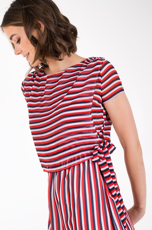 TJW TIE WAIST STRIPE DRESS-hover