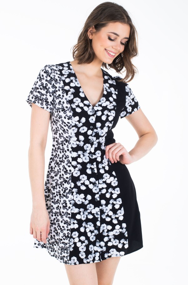 FLORAL BLOCKING  SS DRESS