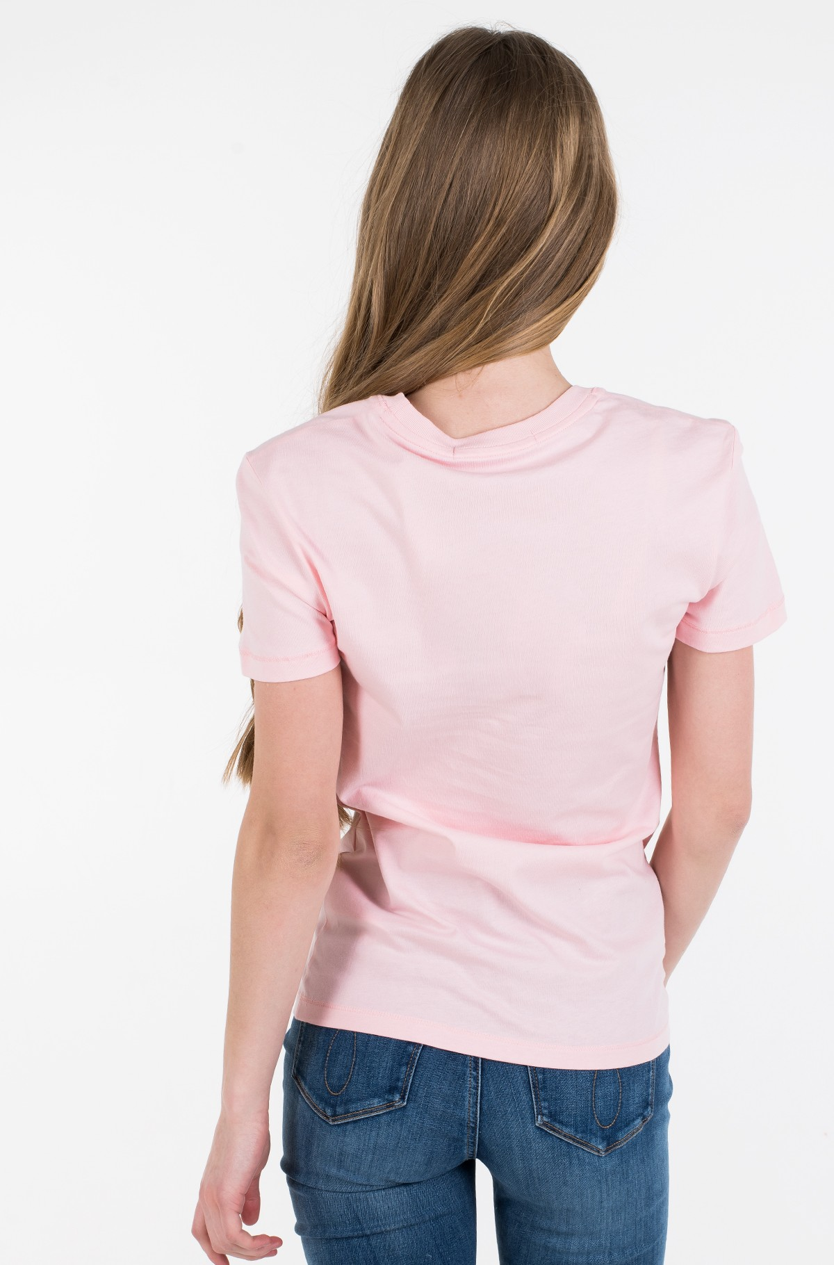 Marškinėliai METALLIC MESH CK SLIM TEE-full-2