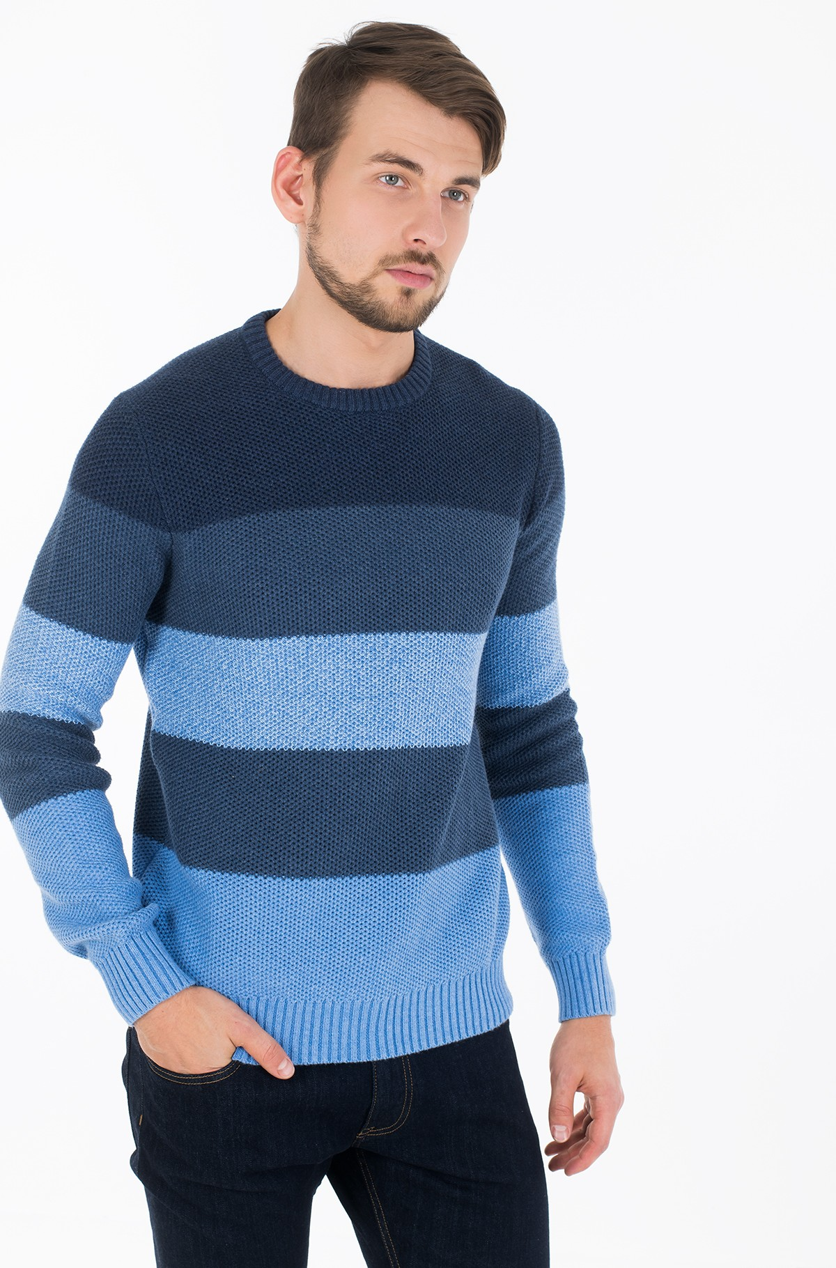 Sviiter BLOCK STRIPE CREW NECK-full-1