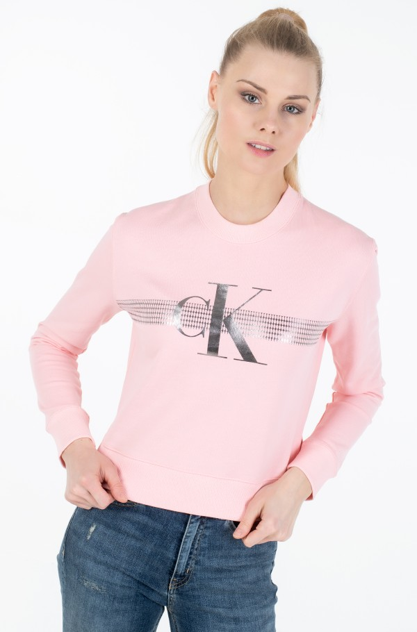 METALLIC MESH MONOGRAM CREW NECK
