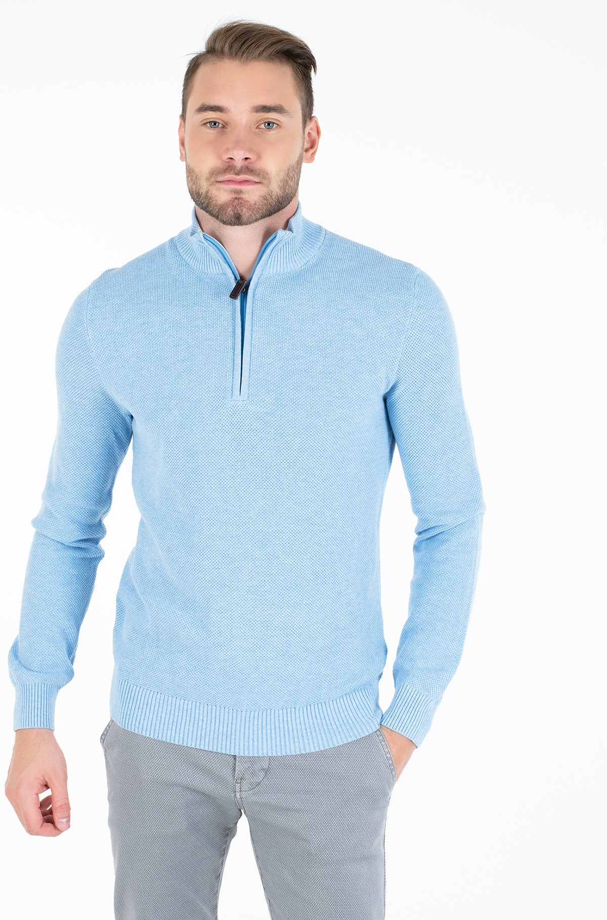 Sviiter 1/4 ZIP PIQUE SWEATER-full-1