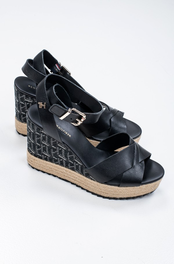 TH RAFFIA HIGH WEDGE SANDAL-hover