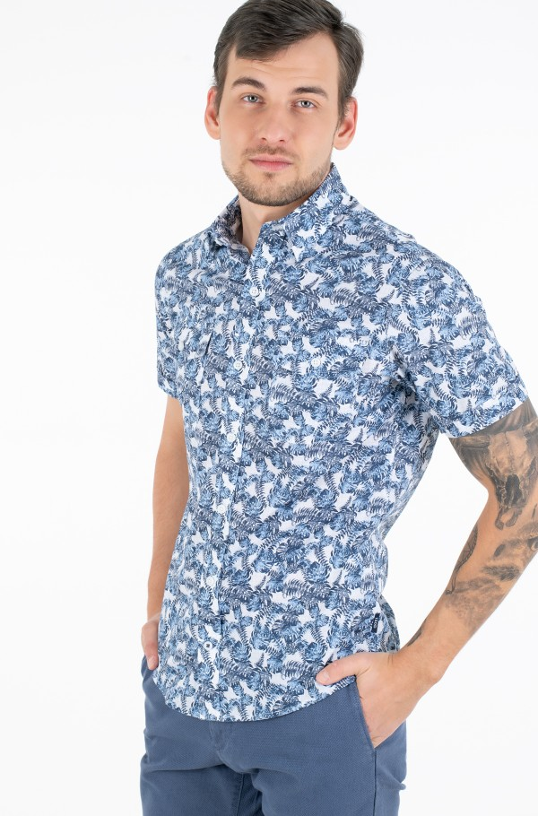 WASHED LEAVES PRINT SS SHIRT