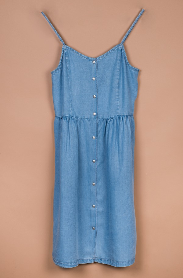 LIGHT DENIM STRAP DRESS