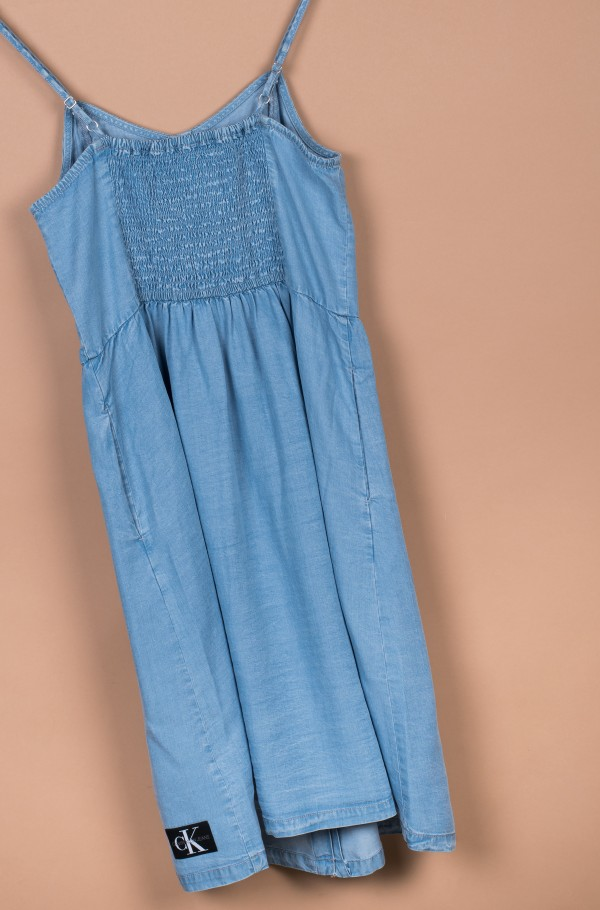 LIGHT DENIM STRAP DRESS-hover