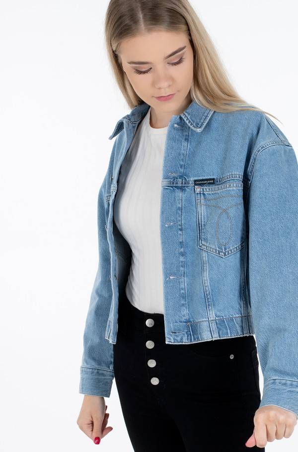 CROPPED OVERSIZED TRUCKER-hover