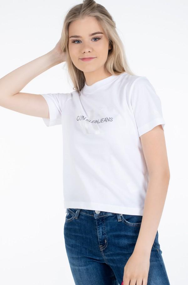 WHITE MONOGRAM STRAIGHT TEE