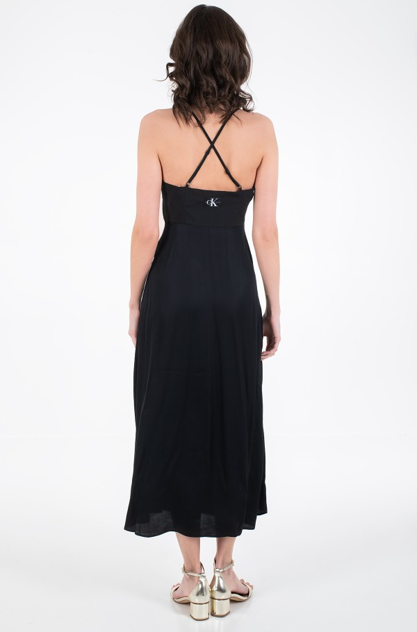 CROSS BACK MAXI SLIP DRESS-hover