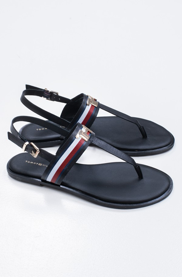 CORPORATE LEATHER FLAT SANDAL-hover