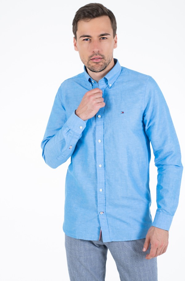 SLIM MELANGE COTTON LINEN SHIRT