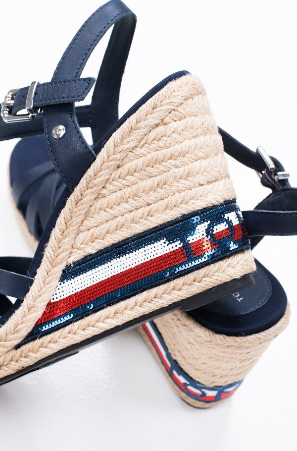 TOMMY SEQUINS HIGH WEDGE SANDAL-hover