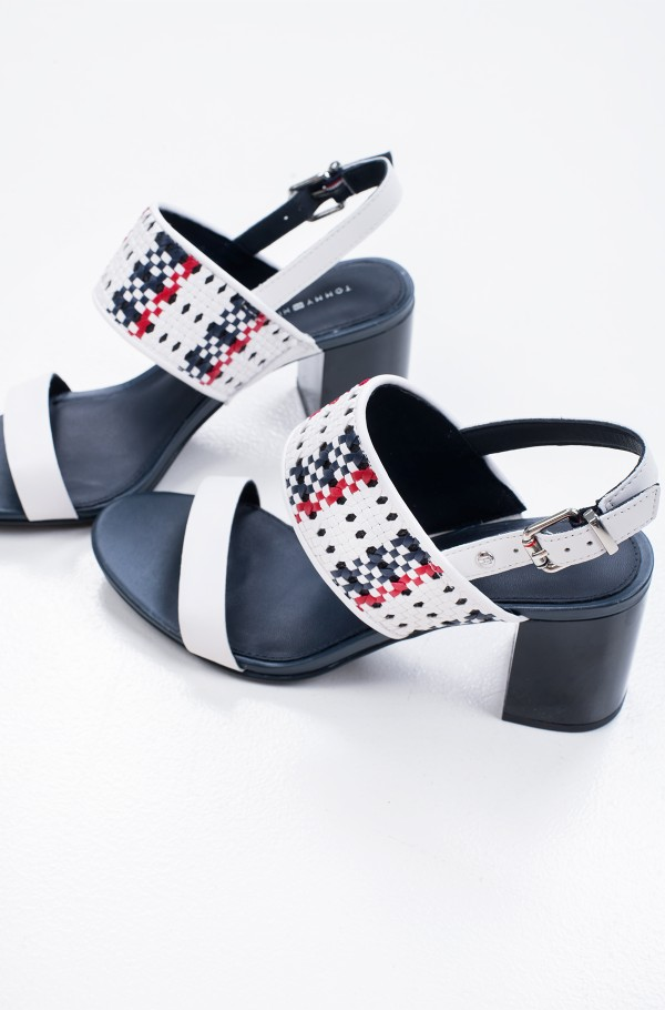 TOMMY INTERWOVEN MID HEEL SANDAL-hover