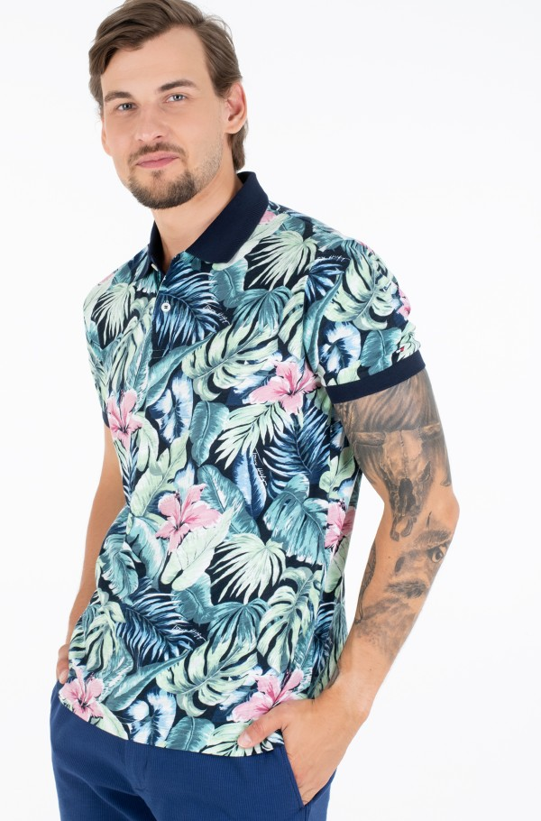 ALL OVER FLOWER PRINT REG POLO