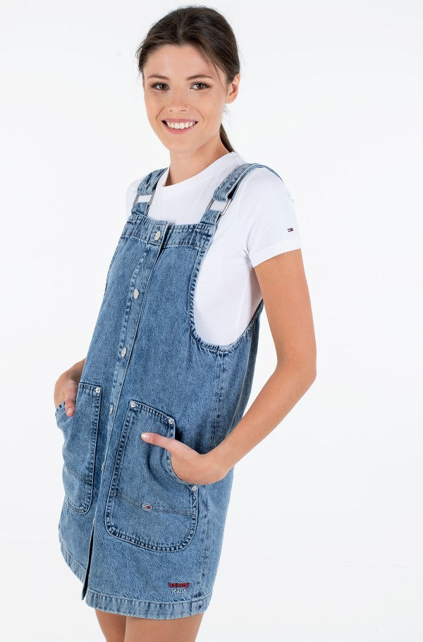 SHORT DUNGAREE SNAP DRESS MMBRG