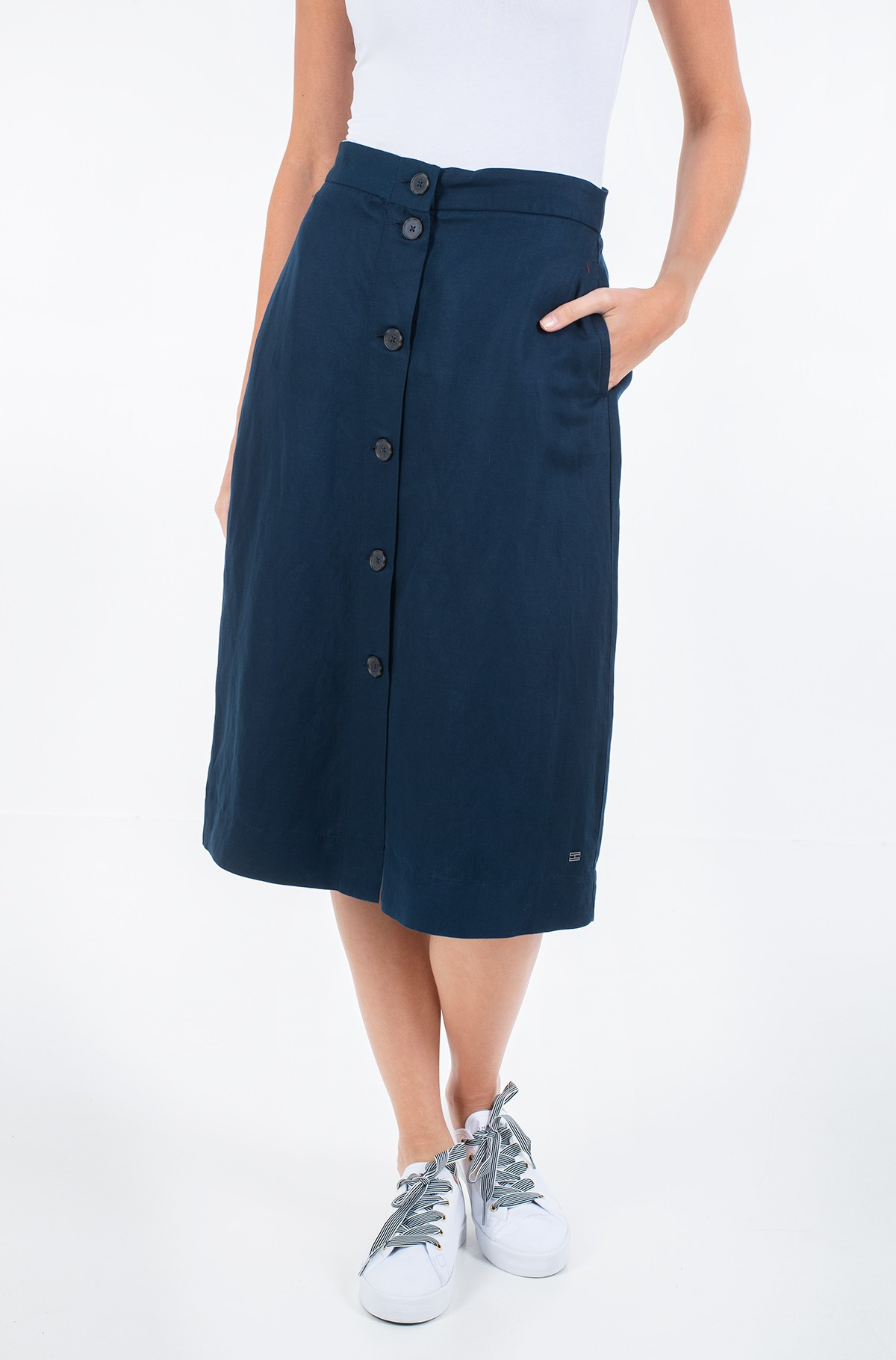 Skirt LINEN TENCEL MIDI SKIRT-full-1