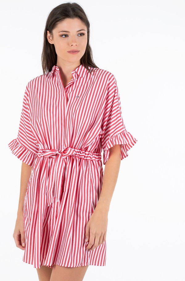 TJW FRILL SLEEVE SHIRT DRESS