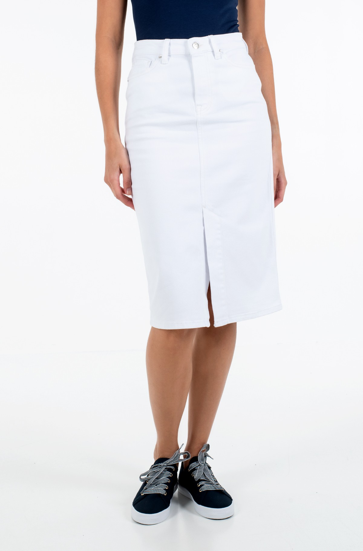 Džinsinis sijonas PENCIL SKIRT HW WHITE-full-1