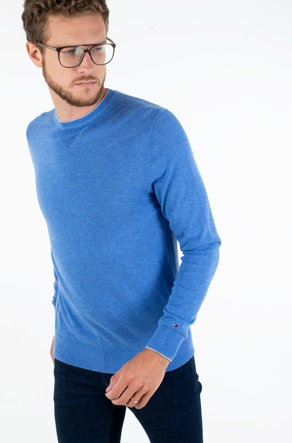 WOOL SILK BLEND TIPPED CREW NECK
