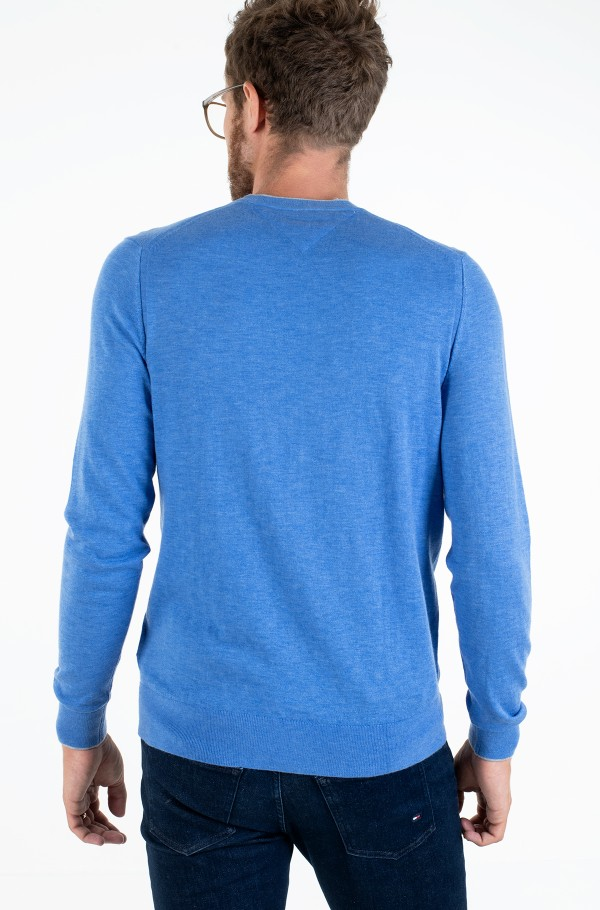 WOOL SILK BLEND TIPPED CREW NECK-hover