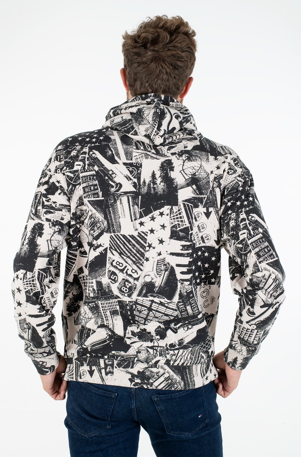 TJM ALLOVER PRINT BADGE HOODIE-hover