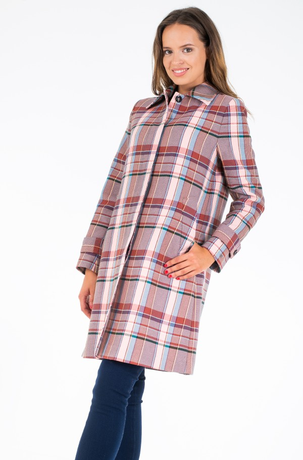 TESS COTTON BLEND CHECK MAC-hover