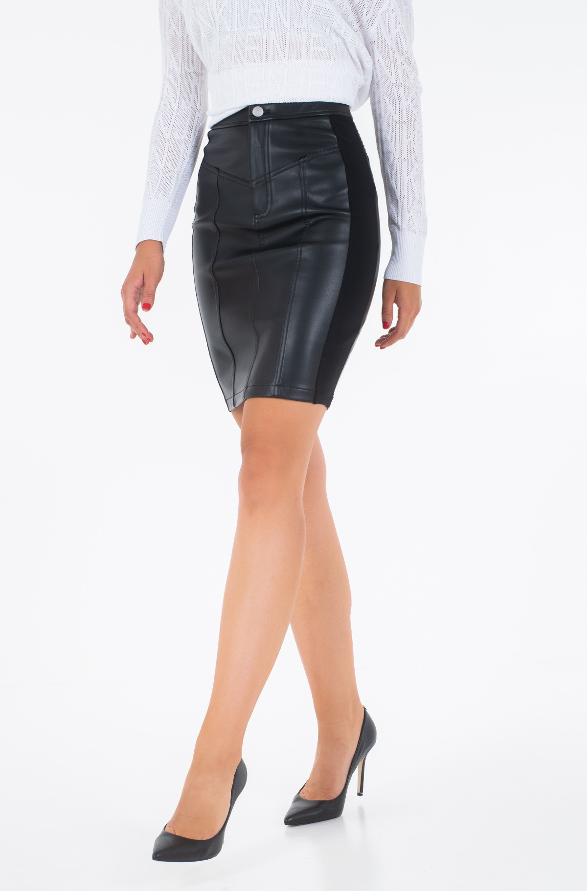 Odinis sijonas FAUX LEATHER STRETCH SKIRT-full-1