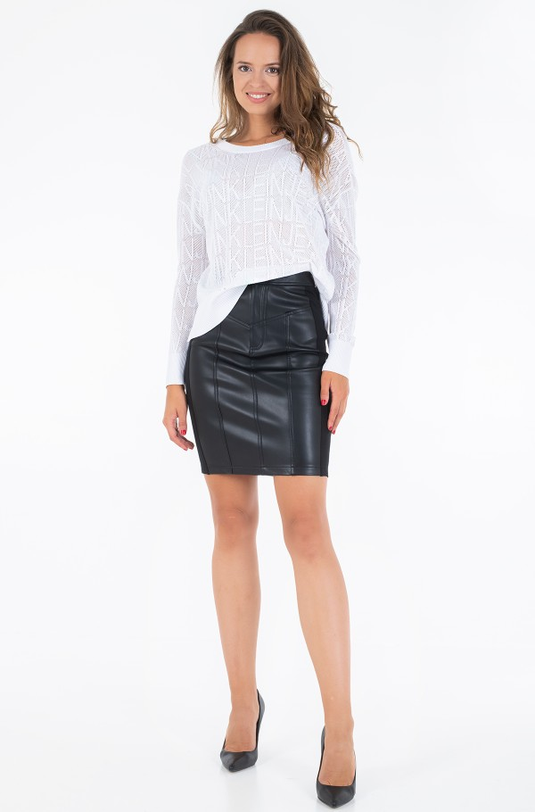 FAUX LEATHER STRETCH SKIRT-hover