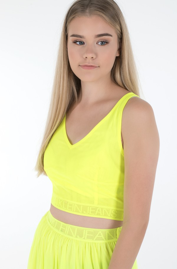 MESH LOGO TAPE CROPPED TOP
