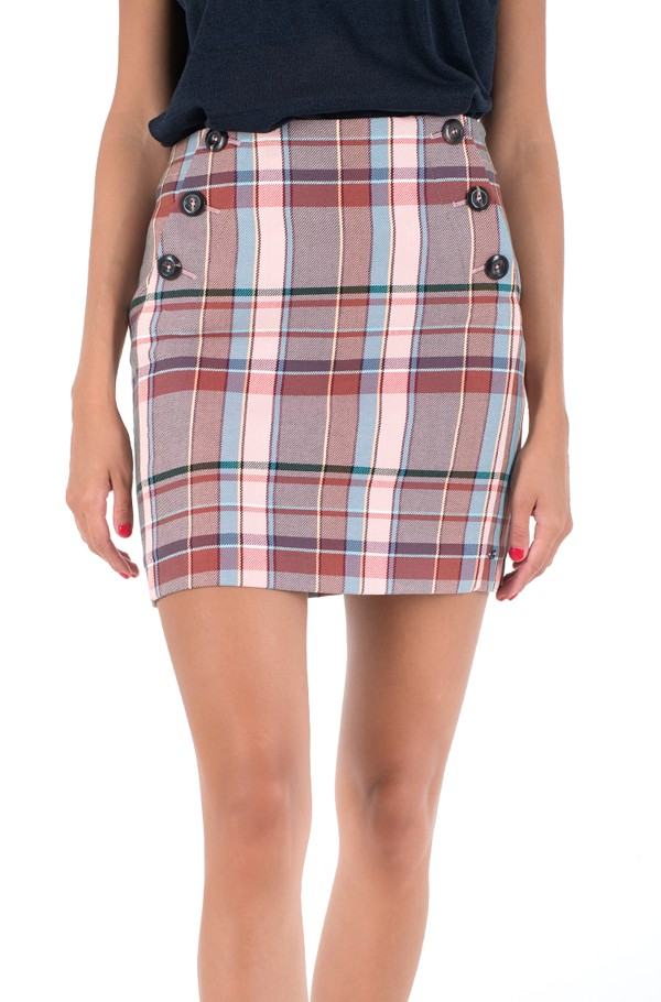 COTTON BLEND CHECK MINI SKIRT