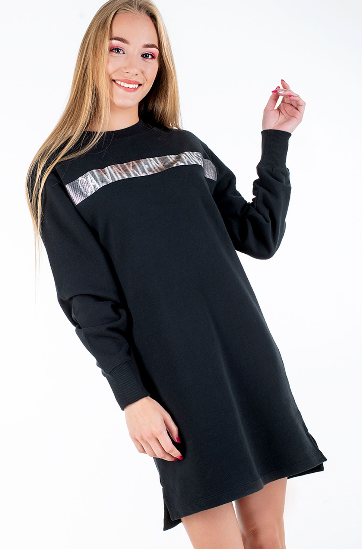 Sweatshirt dress METALLIC LOGO HWK DRESS-full-1