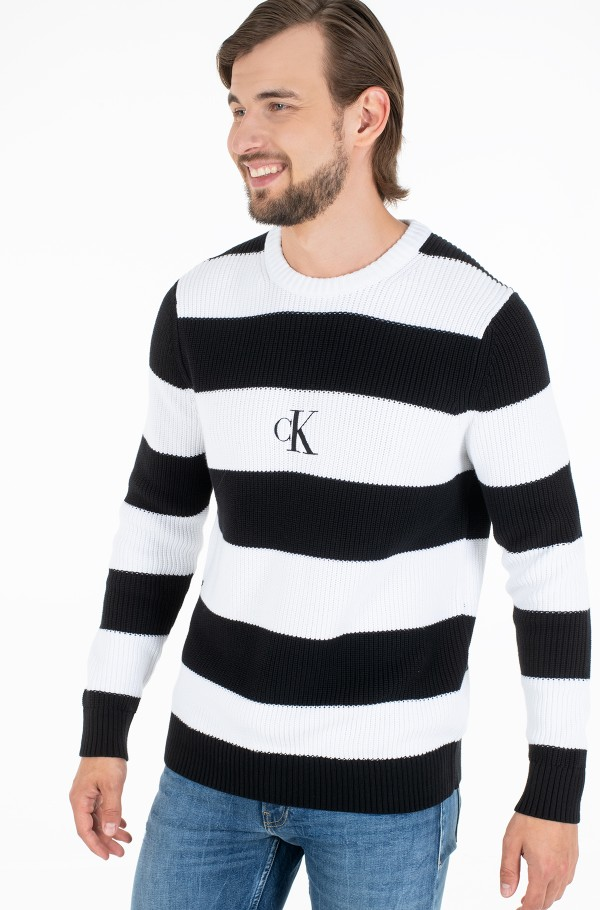 STRIPED MONOGRAM SWEATER-hover