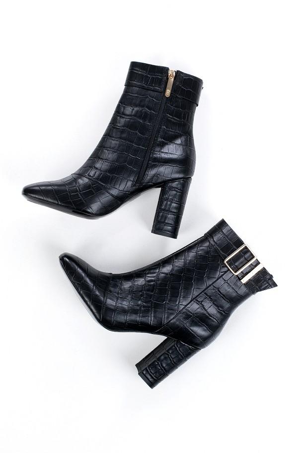 CROCO LOOK HIGH HEEL BOOT