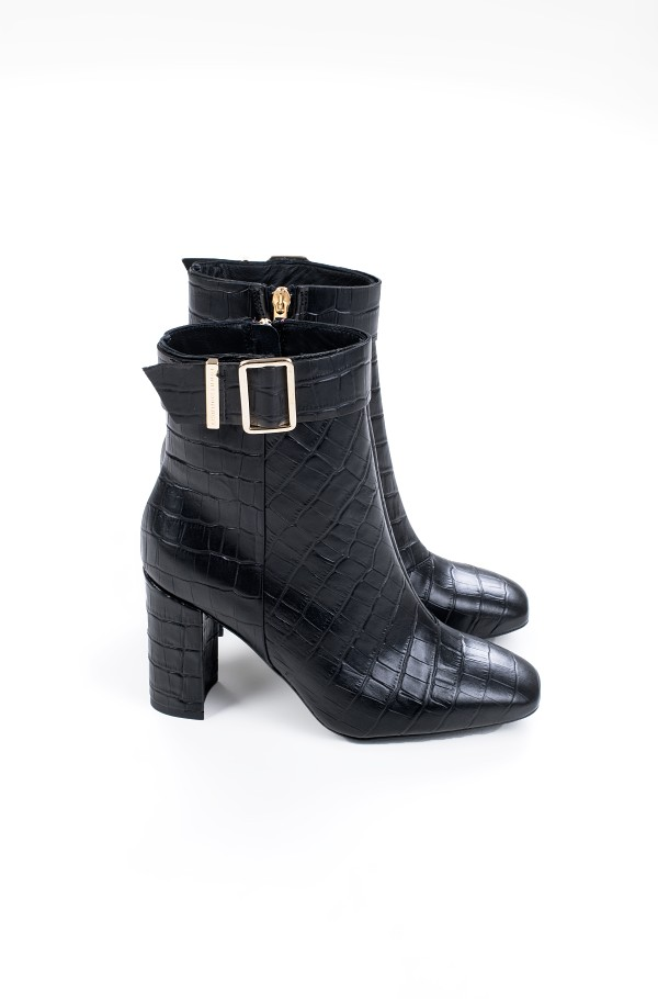CROCO LOOK HIGH HEEL BOOT-hover