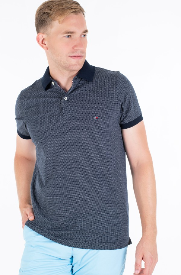 TWO TONE TEXTURED SLIM POLO