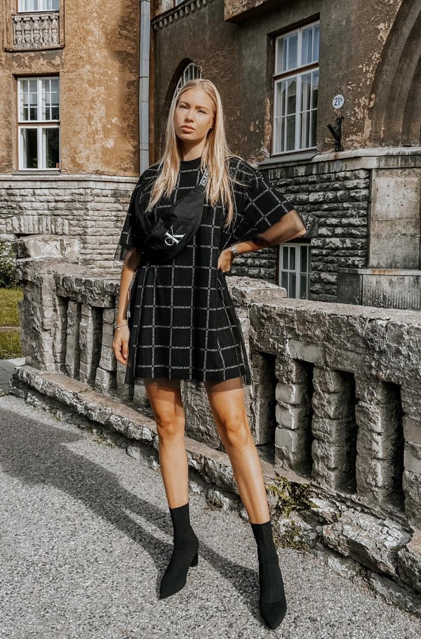 GRID ALL OVER LOGO MESH DRESS