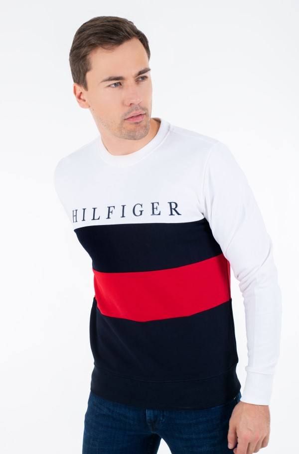 STRIPED COLOR BLOCK SWEATSHIRT