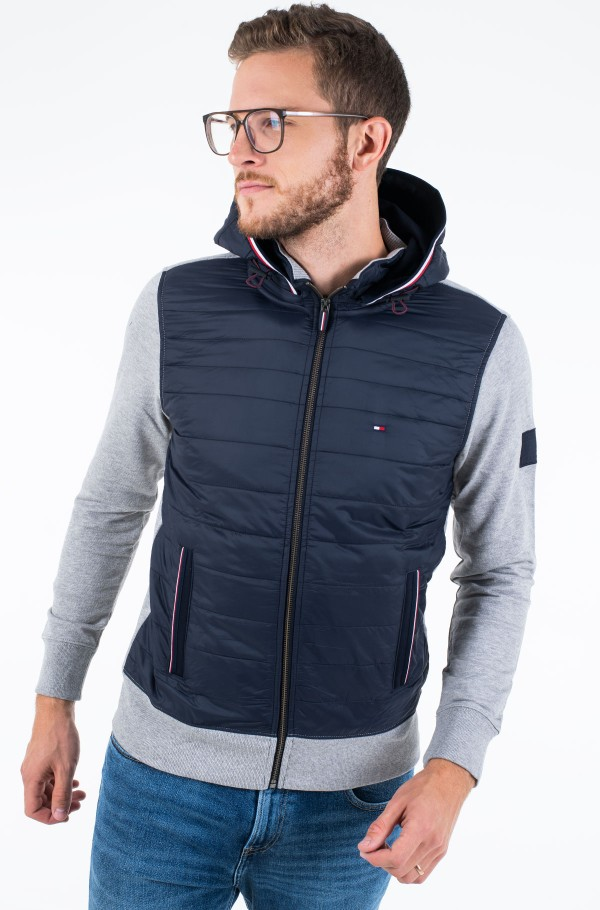 MIXED MEDIA HOODED ZIP THROUGH-hover