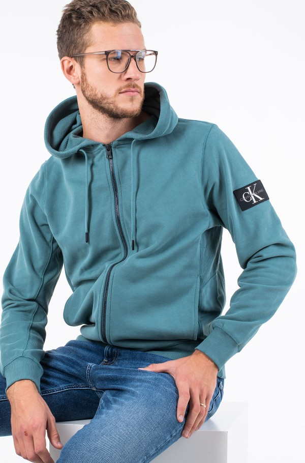MONOGRAM BADGE ZIP UP HOODIE